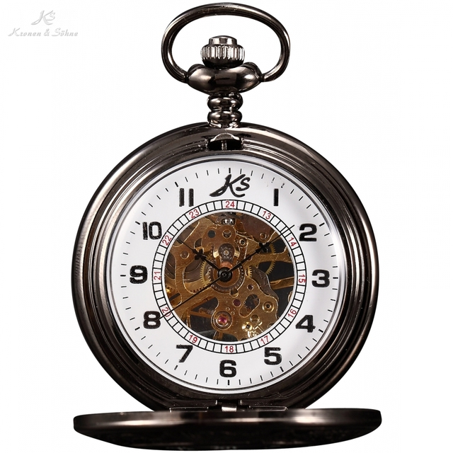 KS Steampunk Copper Watches White Hand Winding Vintage Fobs Pendant Clip Chain M