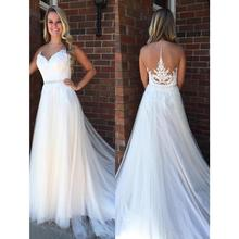 KIVARY Wedding Dresses Sleeveless Sweep Train Dress with