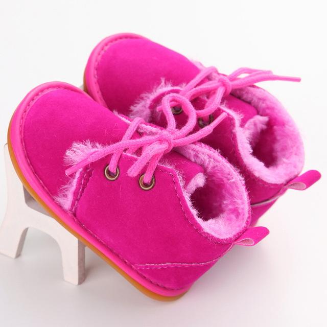 Zapatos de bebé Recién Nacido de Invierno Recién Nacido Niño Zapatos de Piel de Una Botas de Suela de Goma para Bebés Y Las Muchachas Algodón Grueso YEW339
