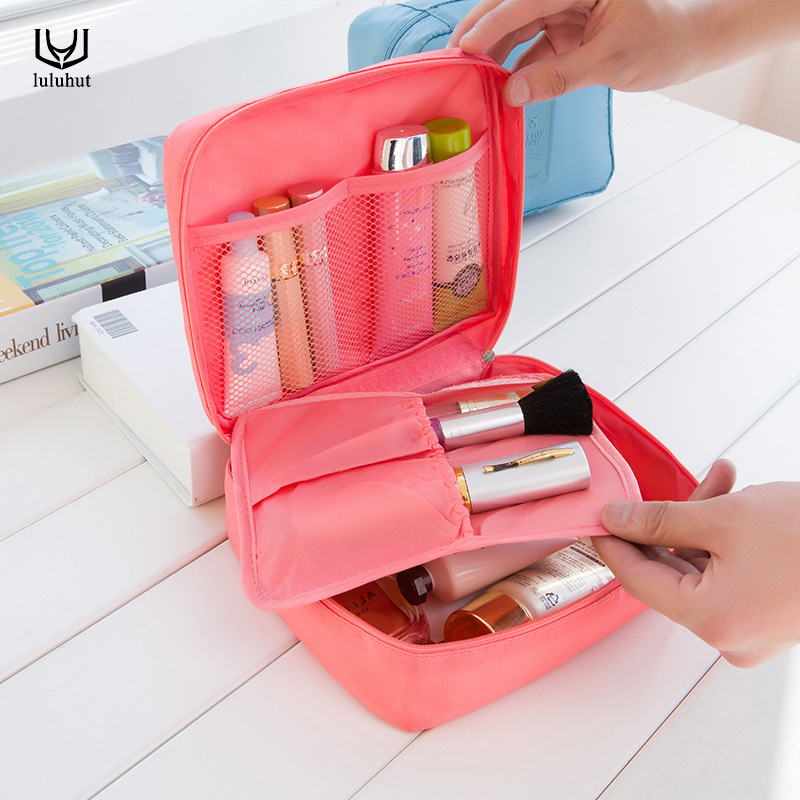 luluhut γυναίκα καλλυντικά ταξίδια αποθήκευσης τσάντα multifuction αδιάβροχο μακιγιάζ τσάντα πλύνετε οργανωτής εργαλείο ένθετο με μικρή τσέπη