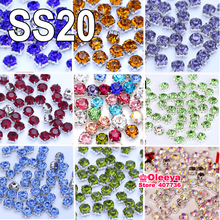 ss20 4.7mm 200pcs All Colors Glass Chaton Stones Silver Base Rhinestones Clear Crystal Sew On Rhinestones In Claw Y3728(China)