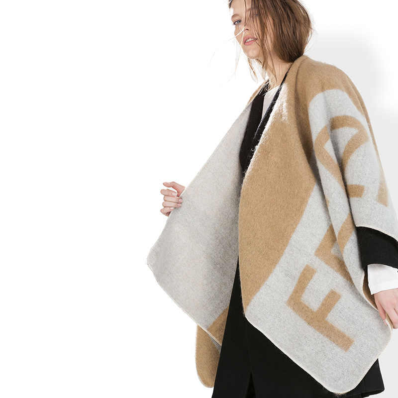 New fashion letter free printted poncho scarves for women cashmere blanket  scarf lady winter thick warm 972cb807edd