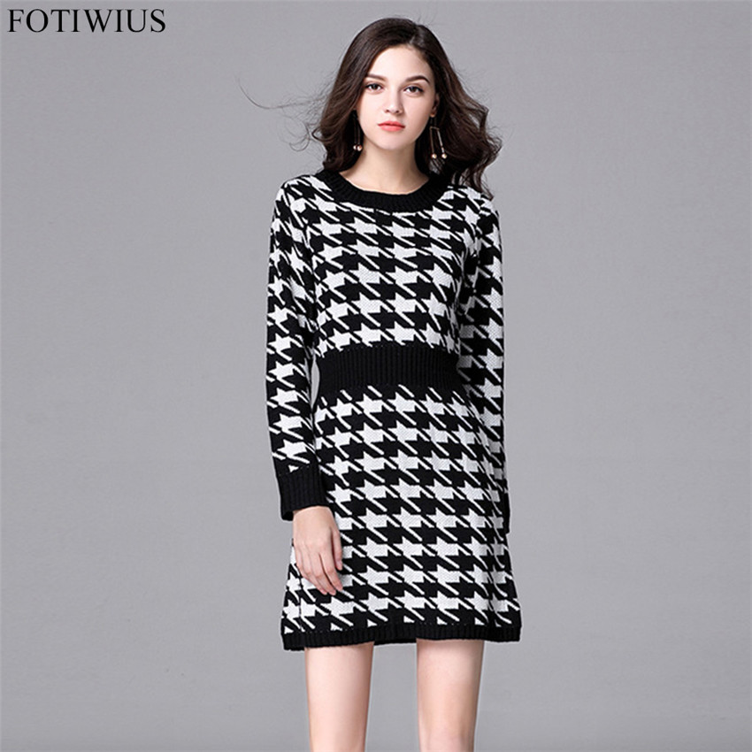 7237a462d104a ... L-5XL Plus Size Women Clothing 2017 Autumn Winter Sweater Dress Vintage  Houndstooth Plaid Bodycon ...