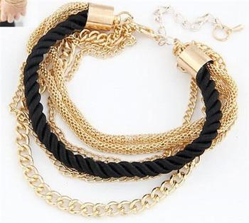 Fashion Multilayer Bracelet for Women Bracelets Jewelry Women Jewelry Metal Color: black
