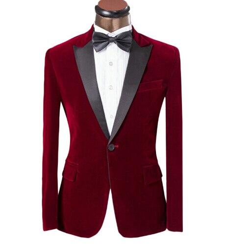 2016 New Elegant Burgundy Velvet Groom Tuxedo Jacket Black