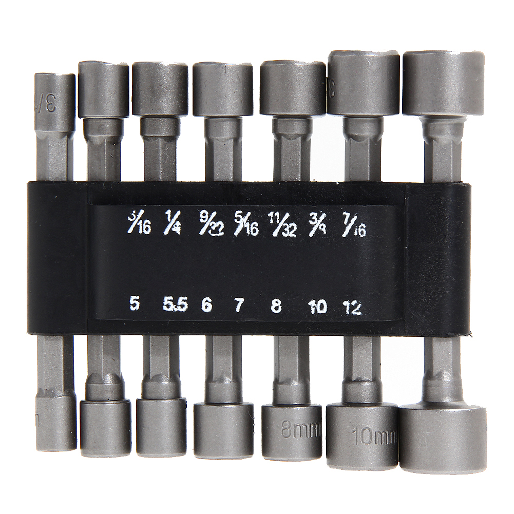14pc Power Nut Driver Set Bits Nut Drill Metric Socket Wrench Screw 1/4 Hex 5, 5.5, 6, 7, 8, 10, 12mm Drill Bit 20pcs m3 m12 screw thread metric plugs taps tap wrench die wrench set