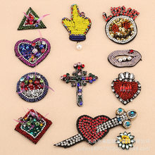 5pcs/lot Crystal Diamond Embroidery Patches Letter Clothing Bag Decoration Accessories Heart Lip Cross Cupid Sunflower Applique(China)