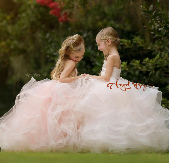 Princess ball gown pink tulle spaghetti straps lace toddler kid glitz pageant dresses puffy ruffles sweetheart flower girl dress princess 132502 pink