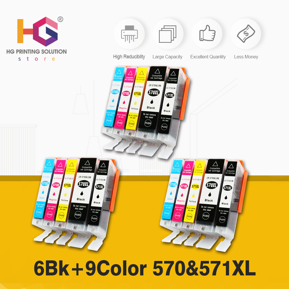 PGI-570 CLI-571 Compatible For Canon Pixma <font><b>TS5050</b></font> TS6050 MG5750 MG6850 Printer Ink Cartridges PGI570 image