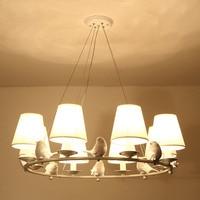 Страна дизайн подвесные светильники абажур ткани смолы птица столовая кухня Лофт белый гладить дома светильники E14 110 240 В