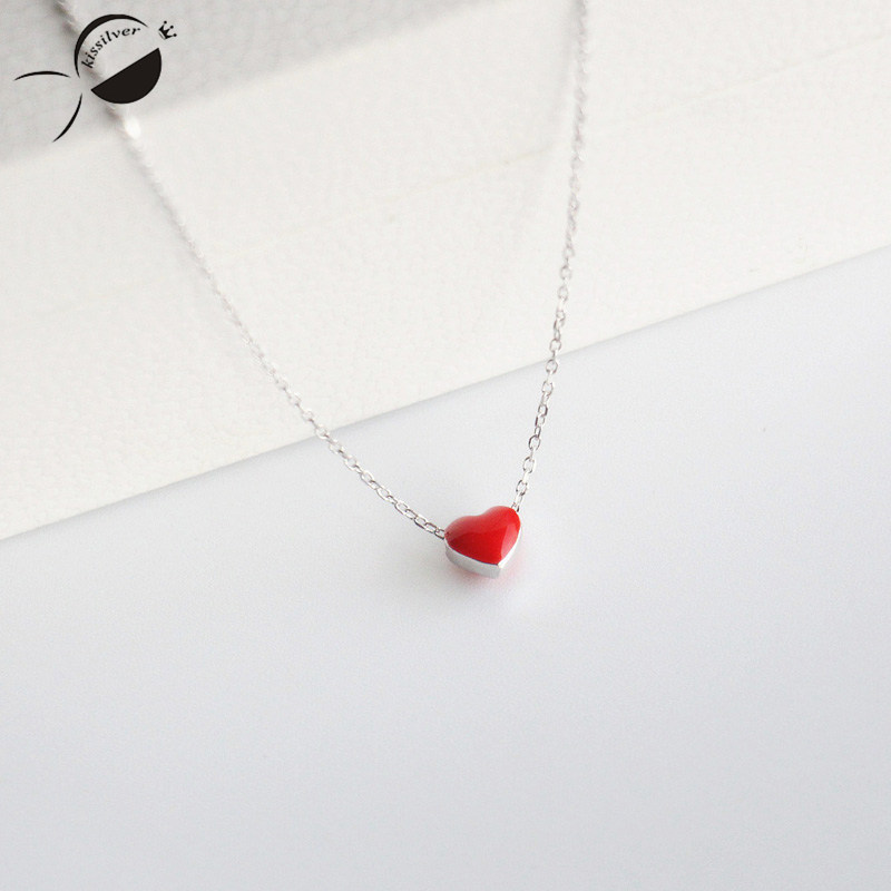 Sweet Love Heart Pendent Necklaces for Women S925 Sterling Silver 2017 Jewelry Silver Short Chain Necklace Choker Female