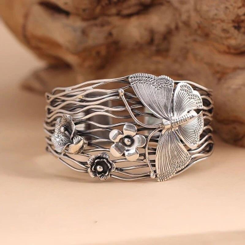 100% puro 925 Pulseira de prata Esterlina mulheres ampla 42mm Tailândia artesanal borboleta flores Pulseira abertura Oco mulheres jóias - 3