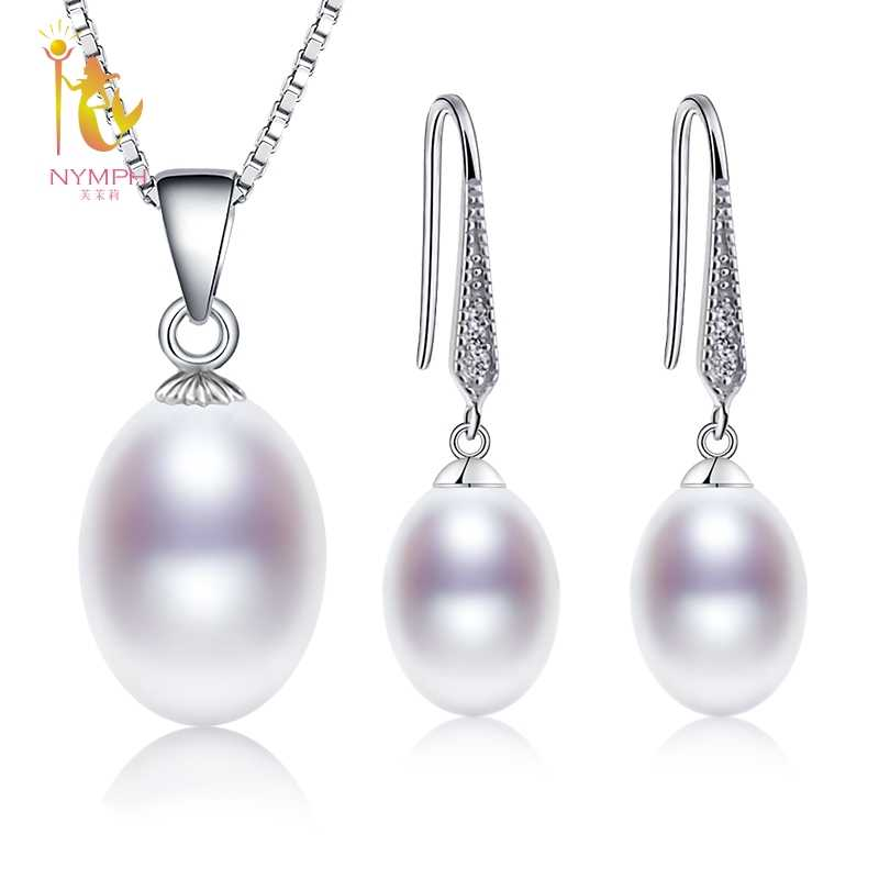 [NYMPH]Natural Pearl Jewelry Sets 925 Sterling Silver Pendant Earrings Real Fresh Water Jewelry With Box Wedding Party [SET53]