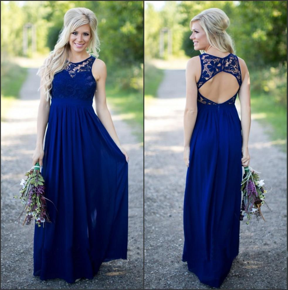 Royal Blue 2019 Cheap   Bridesmaid     Dresses   Under 50 A-line Chiffon Lace Backless Long Wedding Party   Dresses   For Women