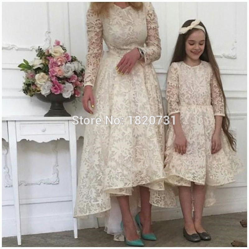 Elegant-Jade-Green-Lace-Evening-Dresses-Long-Sleeves-High-Low-Mother-and-Daughter-Matching-Party-Gown (1)