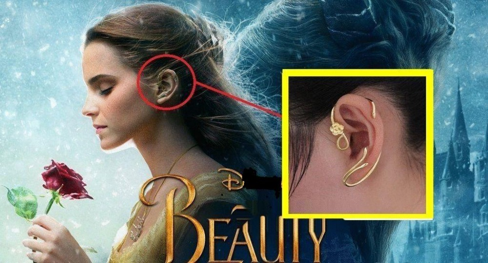 Beauty and the Beast Earrings Ear Cuff Belle Cosplay Jewelry Gold Plated Rose