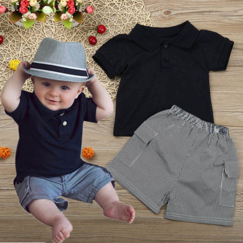 Toddler Baby Kids Clothes  2017 Summer Infant Boys Gentleman Outfits  2PCS Sets Gentleman T Shirt+Striped Casual Short Pants 4