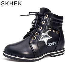 SKHEK  2018 New Autumn Spring Kids Girls Shoes Handmade Fashion Toddler Boots PU Leather boots kids