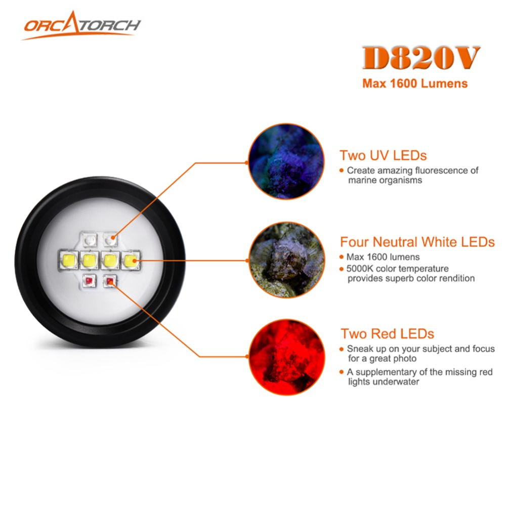 Светодиодный фонарик для подводной съемки, видеокамера, тактический фонарик D820v, 120 градусов, Белый УФ красный светодиодный фонарь - 2