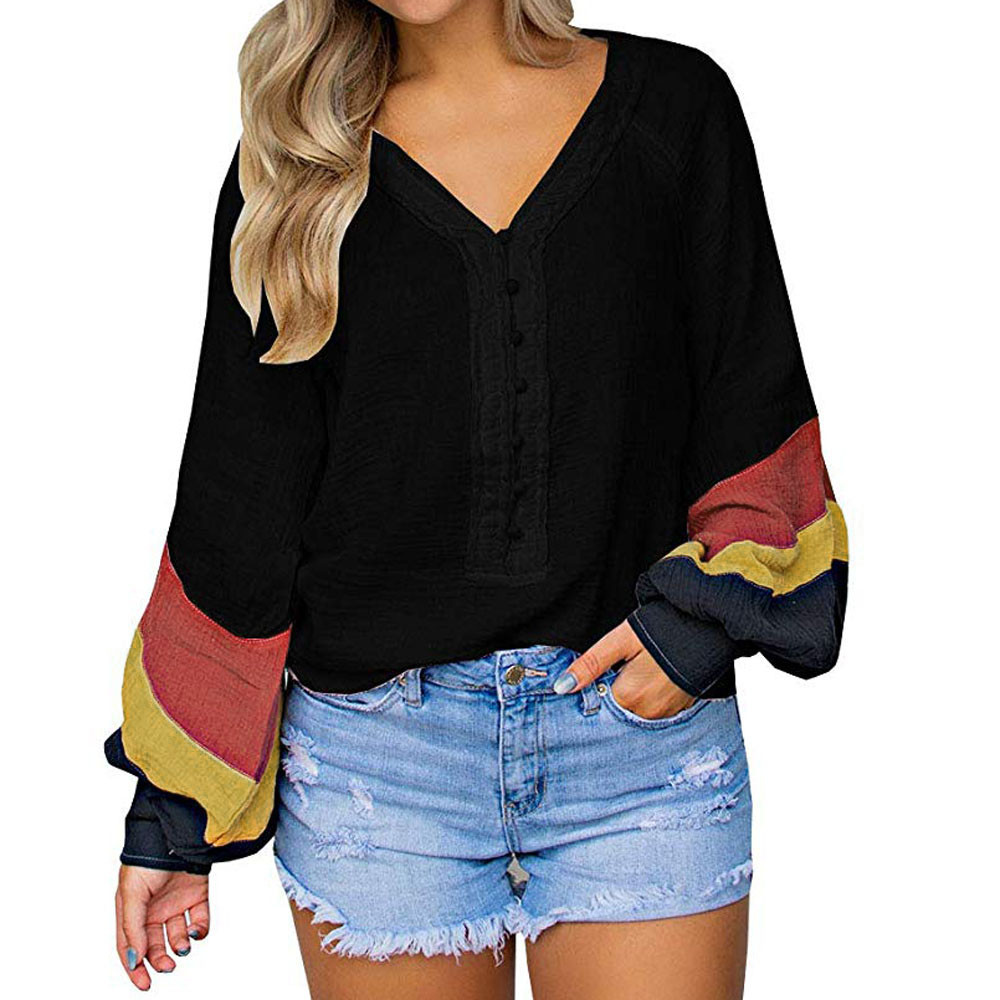 Women Blouses Shirts Casual Stripe Patchwork Button V Neck Long Sleeve womens tops and blouses