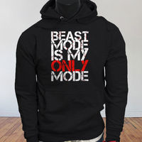 Workout Gym Fitness Lifting Beast Mode Is My Only Mode Mens Black Hoodie