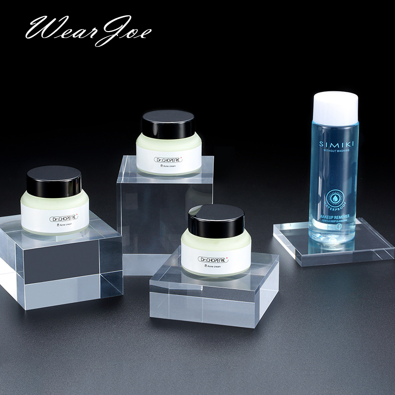 Square Acrylic Solid Display Cube Riser Pedestal Block Shop Retail Skin Care Cosmetic Jar Jewelry Stand Rack For Window Cabinet