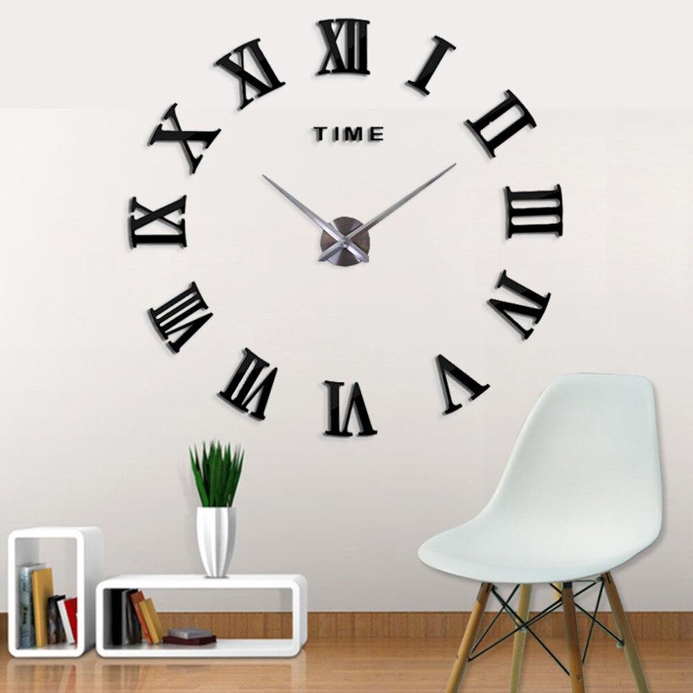New fashion 3D Big size Digital Beautiful Wall Clock New Black Color Home Decor Free Shipping