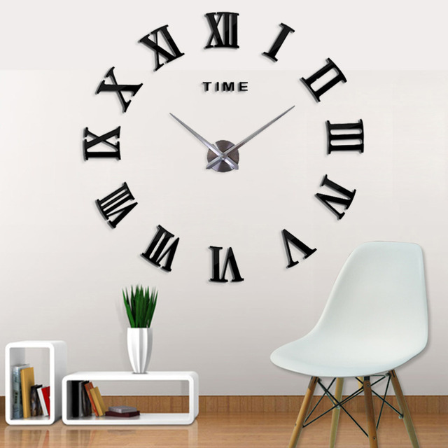 New Fashion 3D Big Size Digital Beautiful Wall Clock Black Color Home Decor Free Shipping Watch Clocks In From Garden