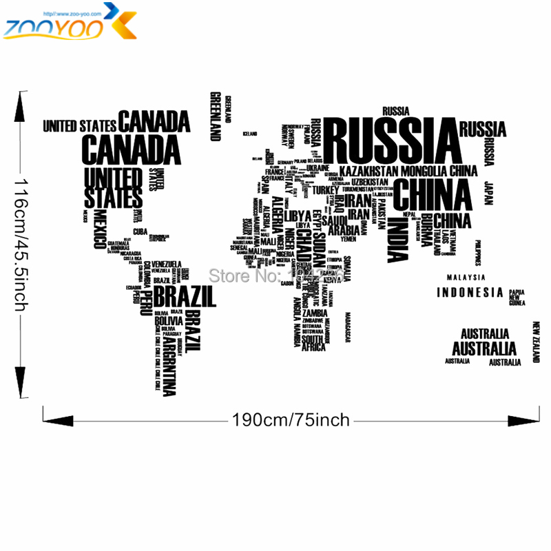 Large World Map Wall Stickers Original Zooyoo95ab Creative Letters Map Wall  Art Bedroom Home Decorations Wall Decals In Wall Stickers From Home U0026  Garden On ...