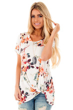Summer Floral Print Front Knot Top Retro Style Short Sleeve Round Collar Tshirt Plus Size Women Casual Tee Shirts 11 Colors