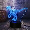 Новинка  футболка с принтом «Jurassic World динозавра в натуральную величину Велоцираптор Clever синий 3D светодиодный Ночной светильник Настольная ...