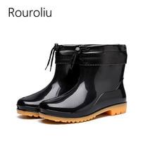 Rouroliu Men Autumn PVC Rain Boots Waterproof Water Shoes Male Wellies Non-Slip Winter Rainboots Warm Socks Inserts RT352