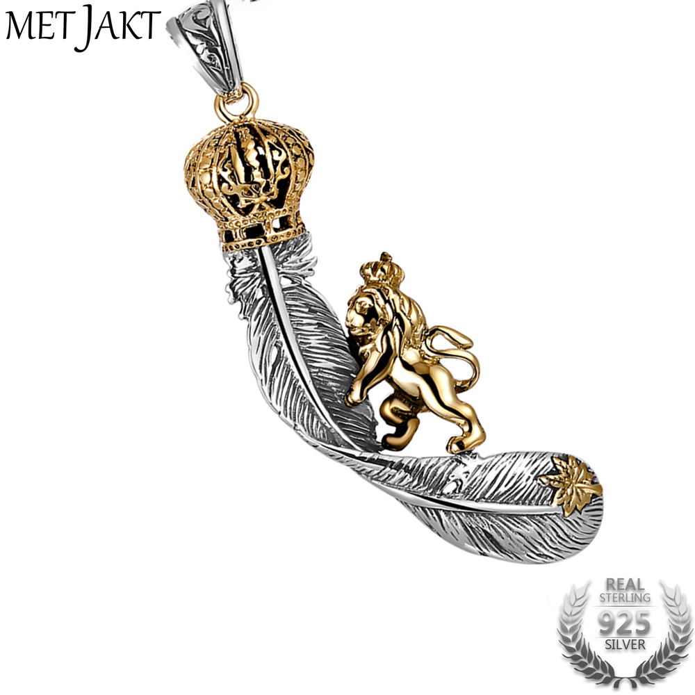 MetJakt Vintage Lion Climbing on Crown Feathers Pendant Solid 925 Sterling Silver Pendant for Necklace Unisex