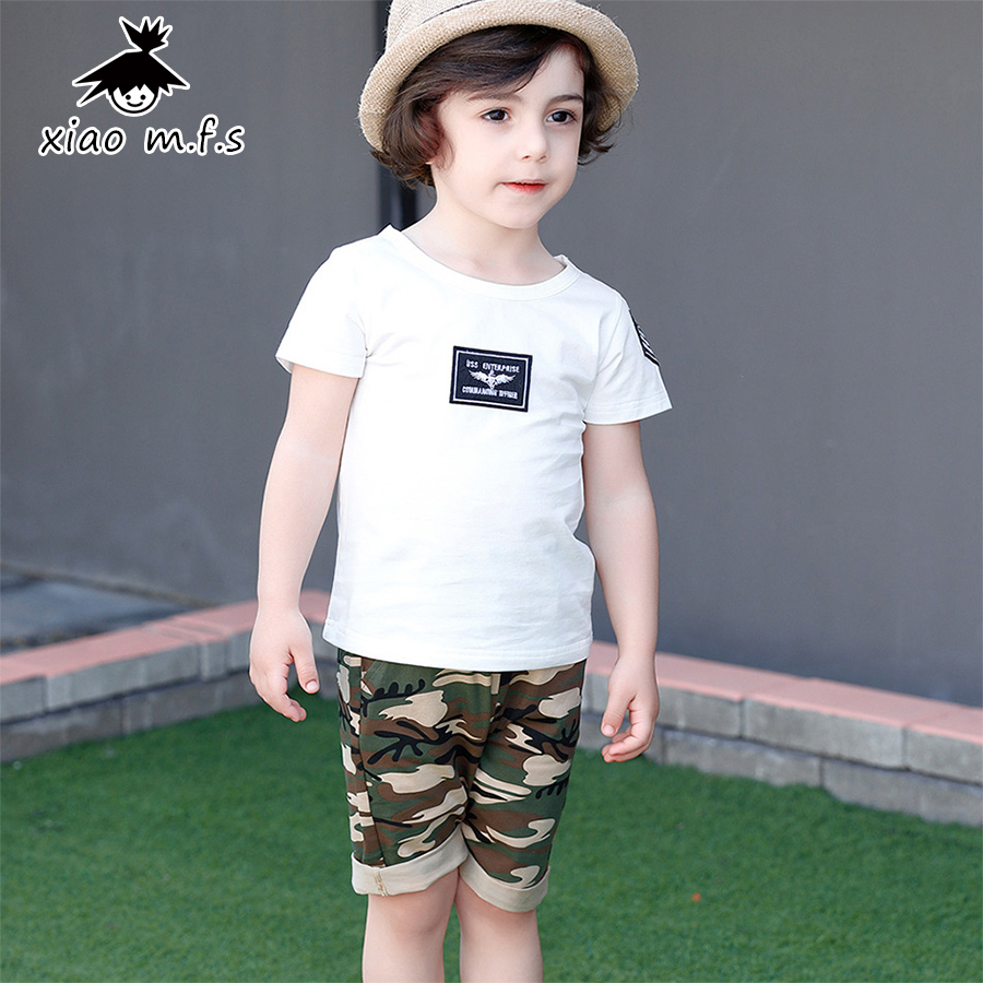 Kids Clothes Summer Boys Clothes Set 3-7 Years 100% Organic Cotton Camouflage Toddler Clothing Sets for Children MFS-X8050 2015 new 3 7 years korean children s clothing brand boys 1set 100% cotton summer boys clothing sets kids clothes