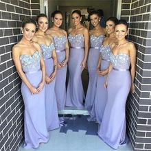2015 Bridesmaid Dresses Seethert Appliques Satin Mermaid Floor-Length Lavender Dress Robe Demoiselle Honneur Biridesmaid Dress
