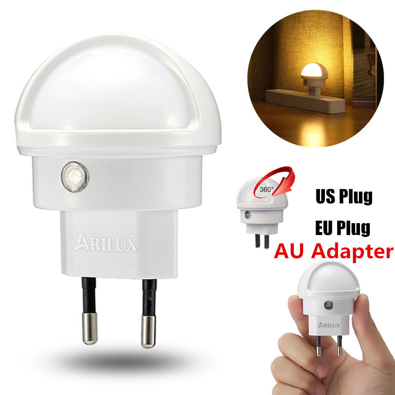 ARILUX LED Night Light Light Sensor Type 360 Angle Rotated Warm White LED Night Light Lamp EU/US Plug Indoor Lighting NEW