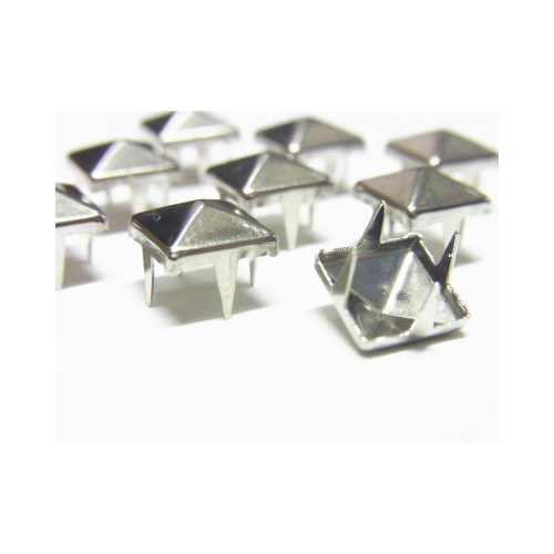 100 Pcs 10mm Leathercraft DIY Metal Punk Spikes Spots Pyramid Studs Goth-Silver