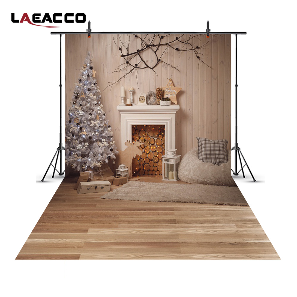 Laeacco Christmas Tree Fireplace Photography Backgrounds Vinyl Seamless New Year Home Decoration Backdrops Prop For Photo Studio new arrival 5 8ft vinyl christmas tree background 3723 children photography studio backgrounds newborn photography backdrops