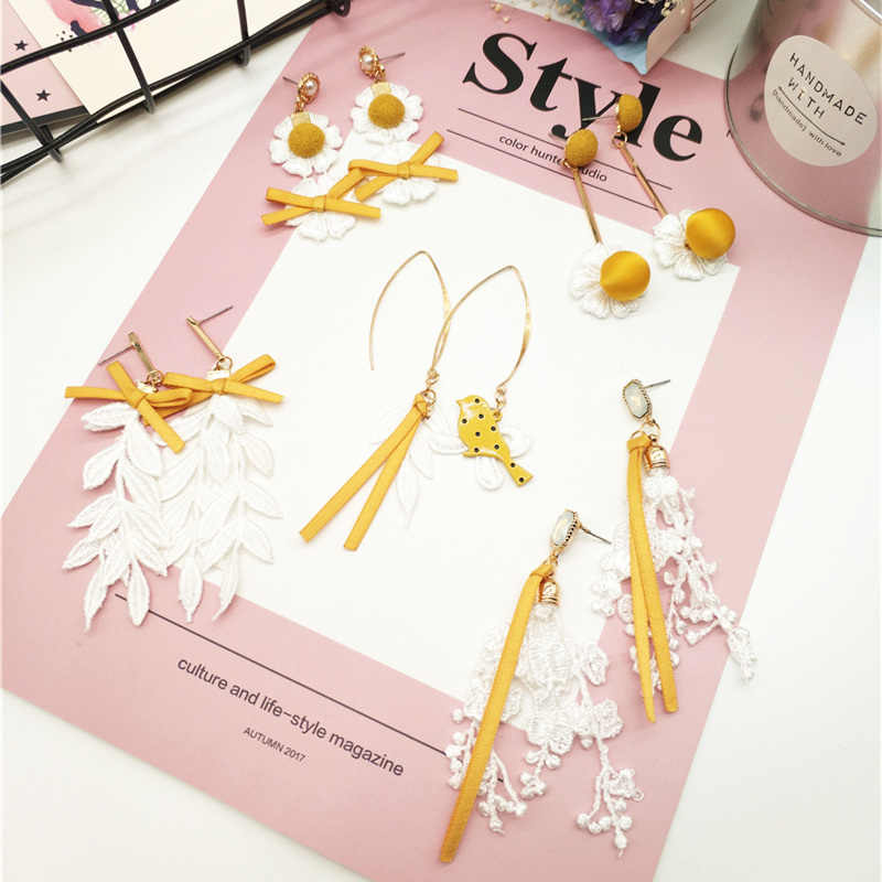 Korean Handmade Lemon Yellow Lace Flower Leaf Tassels Bird Bow Woman Hanging Dangle Drop Earring Fashion Jewelry-JQDPER043C5