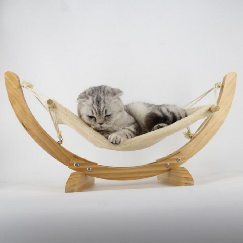 Wooden Handmade Cat Bed Cat Hammock Cradle Mat Swing Dog