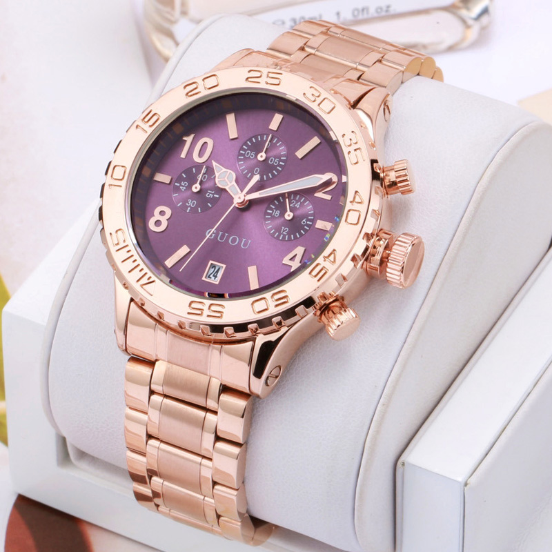 GUOU Luxury Brand Large Dial Gold Stainless Steel Band Three eyes calendar Qatch Waterproof Ladies Man