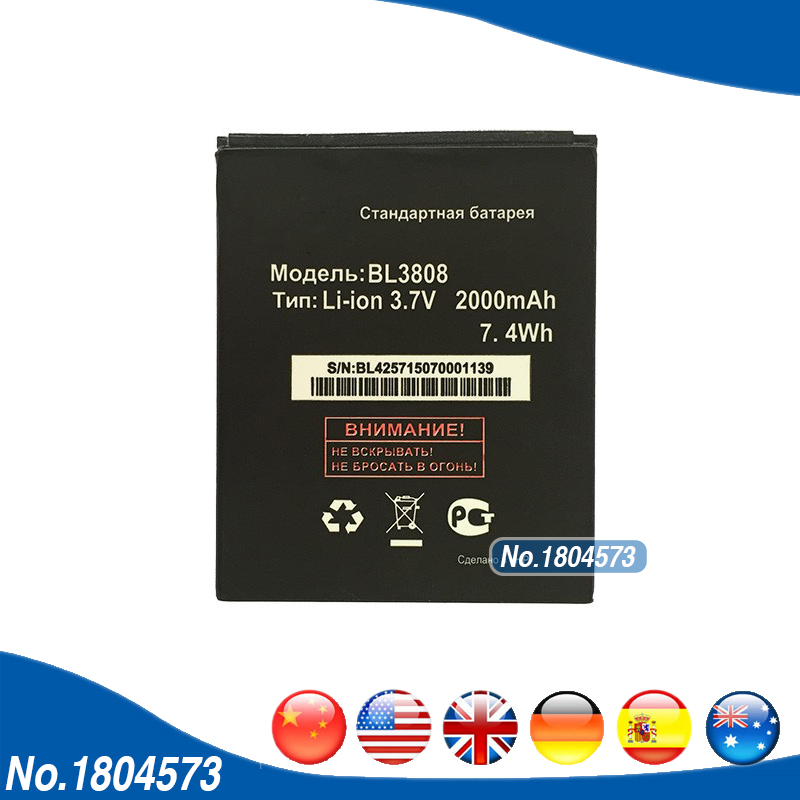 BL 3808 2000mAh Battery For Fly IQ456 Era Life 2 BL3808 Mobile Phone Battery Replacement 1PC/Lot