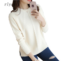 RLYAEIZ Hot Sale Sweater Women 2017 New Spring Autumn Casual O Neck Long Sleeve Pullovers Knitted