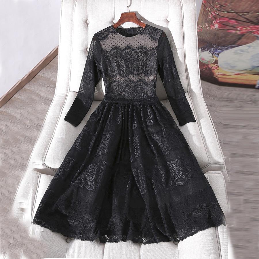 Manches Longue Mode Robe Pour Piste Fête Sexy Vintage Noir Floral De Broderie Élégant Femmes Aeleseen Perles Complet 2019 Tenue 45gZq5z