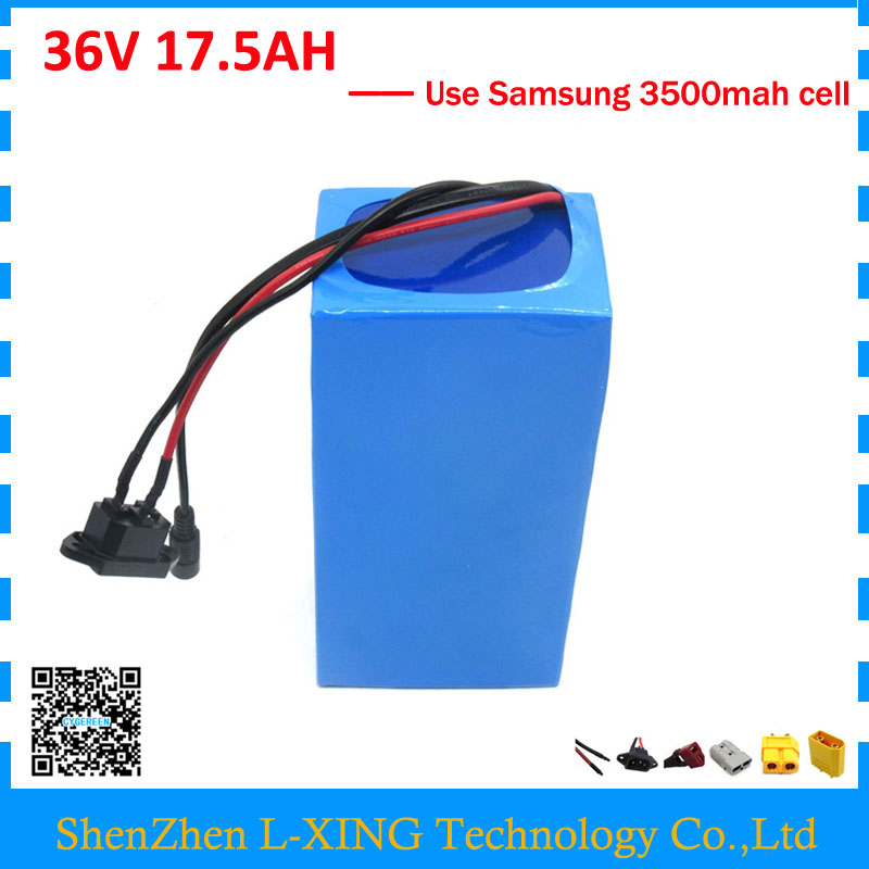 Free customs fee 1000W 36V 17.5AH battery pack 36 V lithium ion battery 18AH use Samsung 3500mah cell 30A BMS with 2A Charger free customs duty 48v 20ah lithium ion