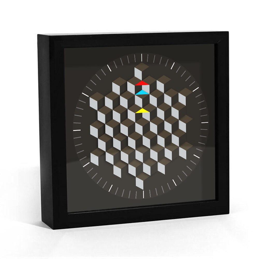 Modern Graphic Art Design Hexagon Table Wall Clock Minimalist Art Decoration Rotating Plate Smart Clock Hands Desk Clock Watch