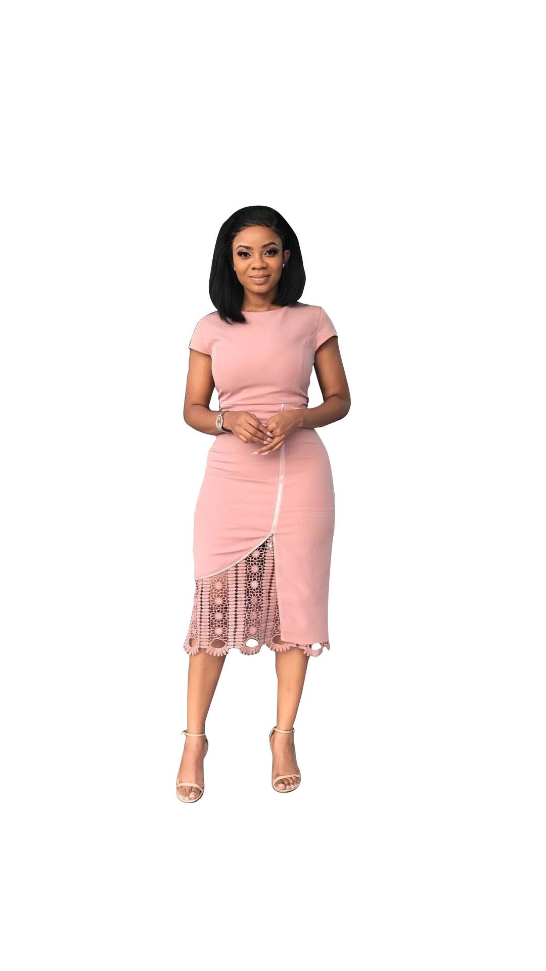 Elegant Boutonniere Lace Pink Midi Dress Women Casual Office O Neck Pencil Dress Solid Party Short Sleeve Bodycon Dress in Dresses from Women 39 s Clothing
