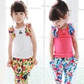 2016 Baby Girls  Summer Suits Sleeveless Vest Shirt + Floral Harem Pants Floral Sets