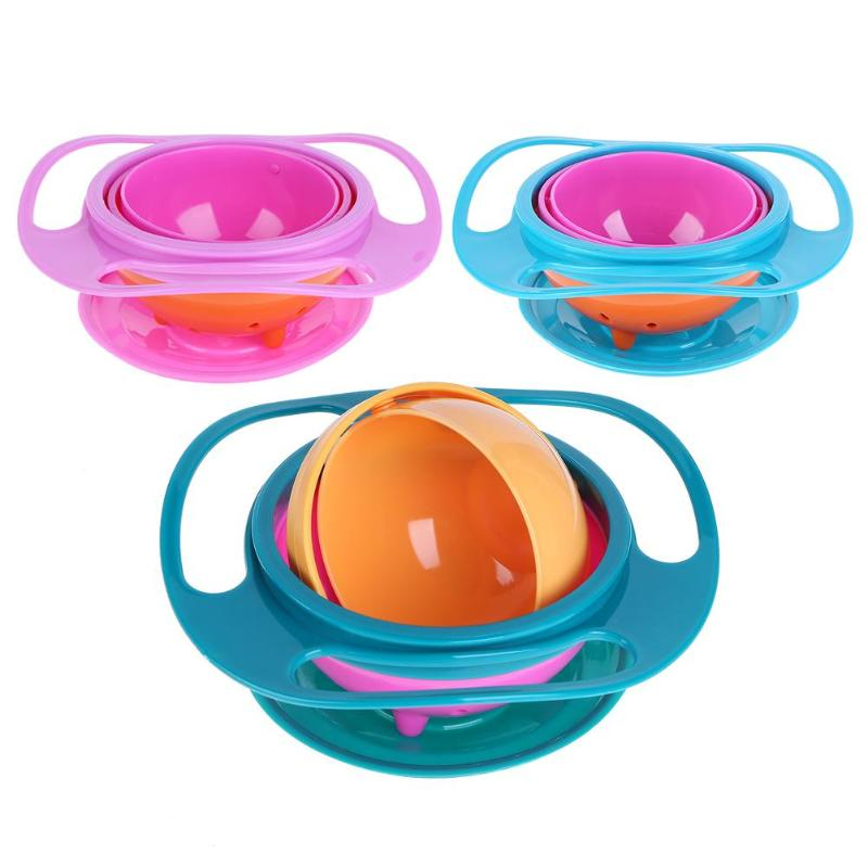 Baby Feeding Bowl Baby Balance Bowl Learning Dishes Novelty 360 Rotary Gyro Umbrella Bowl Practical Spill-Proof Children Bowl