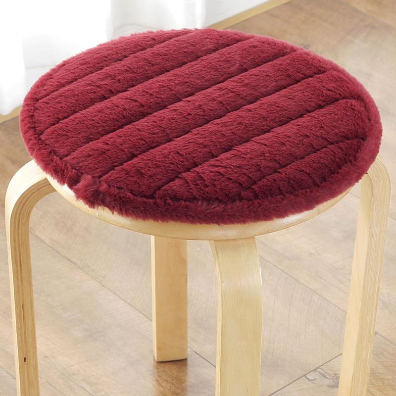 Winter Thicken Chair Cushion Plushi Fabric Seat Mat Super Soft Round Chair Cushions Home Decoration Cushion Office Seat Pad